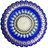 Bold N Elegant Pearl Studded Dark Blue Handcrafted Designer Diya Candle Holder With Complimentory Tea Light Candles