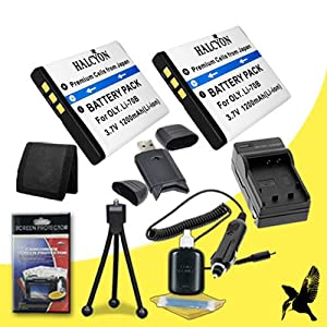 Two Halcyon 1200 mAH Lithium Ion Replacement LI-70B Battery and Charger Kit + Memory Card Wallet + SDHC Card USB Reader + Deluxe Starter Kit for Olympus VG-160 14 Megapixel Digital Camera and Olympus LI-70B