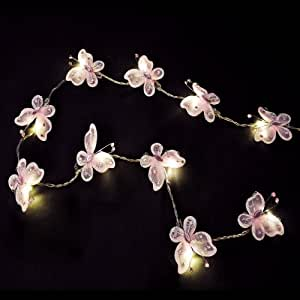 Pair of - Battery Operated Beautiful LED Pink Faux Silk Butterfly Fairy String Lights