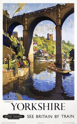 British Railways Travel Railway Poster Art Print, Yorkshire, England, See Britain by Train