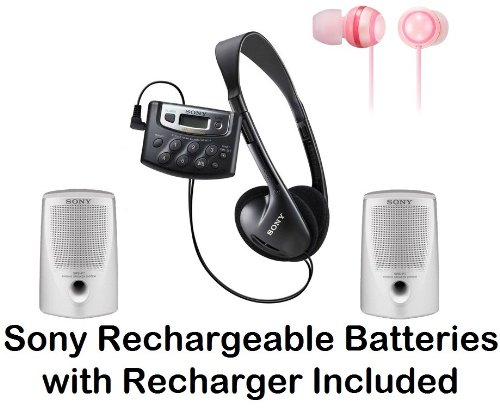 Sony Walkman Digital Tuning Palm Size AM/FM Stereo Radio with Weather Band, 20 Station Preset Memory, DX Switch for Exceptional Reception, Belt Clip, Over the Head Stereo Headphones, Peach Pink Fashion Earbud Headphones & Passive Lightweight Portable Spea
