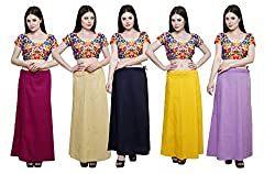 Pistaa combo of Women's Cotton Magenta, Beige, Navy Blue, Yellow and Levender Color Best Solid Indian Readymade Daily wear Inskirt Saree petticoats