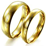 Bigsoho Stainless Steel 18K Gold Lord ring king's ring Women/Men Couple Ring Size T 1/2