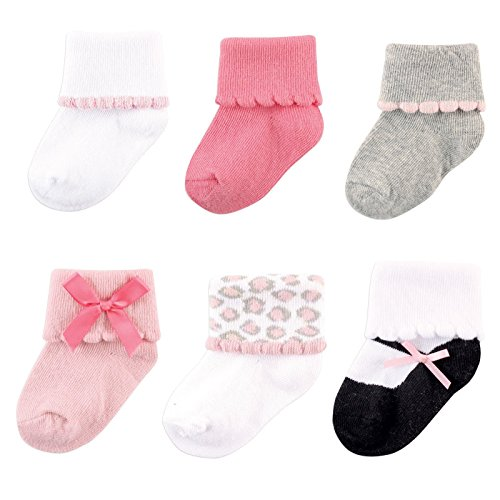 Luvable Friends Baby 6 Pair Dressy Cuff Socks, Pink/Gray, 0-6 Months