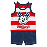 Disney Red, White, & Blue Mickey Mouse USA Baby Boys Romper Outfit