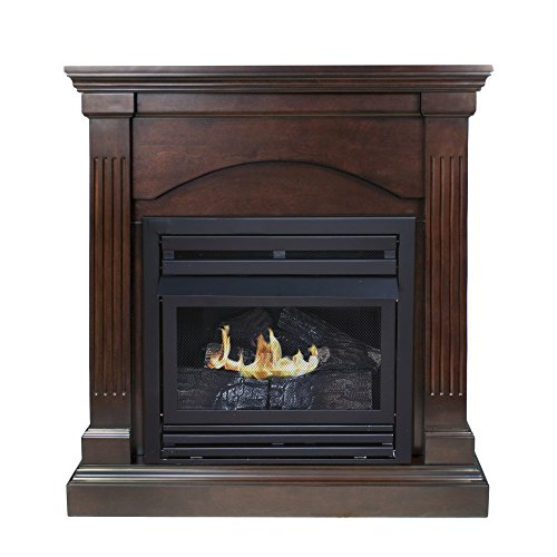 Pleasant Hearth Convertible Vent-Free Dual Fuel Fireplace, 35-Inch, Tobacco