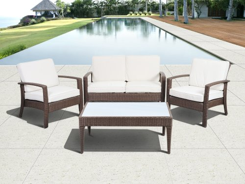 Atlantic 4 Piece Tahiti Deluxe Wicker Conversation Set Brown With Off White Cushions Furniture