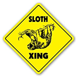 SLOTH CROSSING Sign xing gift novelty animal lover slow slo poke