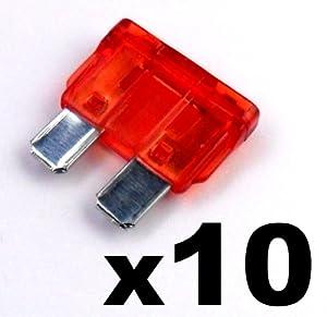10x Fusibles Standard Enfichables Auto / Voiture / Caravane / Bateau - KFZ - Rouge 12 A AMP - Pour 12V / 24V - LIVRAISON GRATUITE!