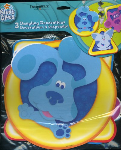 1 X Blue's Clues 3 Dangling Decorations (Blue, Magenta & Periwinkle) Foil Disc Hangers