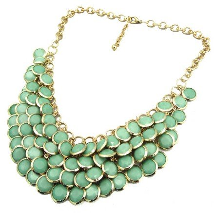 green Chunky Multi Layers Resin Gem Round Beads Statement Bib Collar Necklace(wp-55)