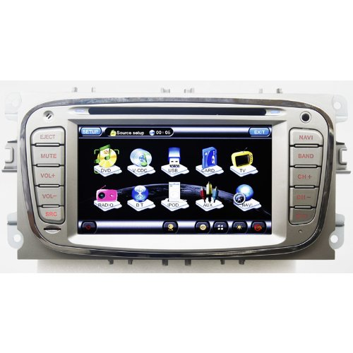 Koolertron For Ford Focus 2008-2009 /Mondeo 2007-2011 /S-MAX 2008-2009 /KUGA In-dash DVD Player With GPS Sat Nav Navigation + Support iPod iPhone /PIP /Radio RDS /Bluetooth /Steering Wheel Control /Built-in DVB-T TV function (Free navi maps)
