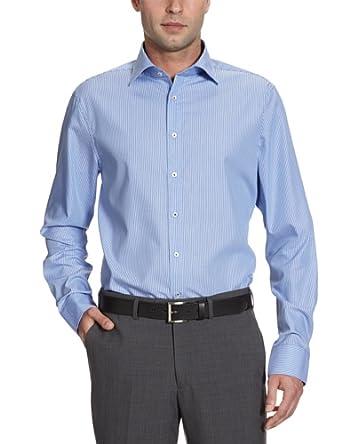 Seidensticker Herren Businesshemd Slim Fit 225448, Gr. 38, Mehrfarbig (13 (Streifen blau)