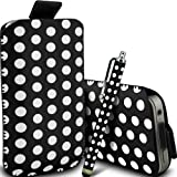 Gadget Giant Black Polka Dots PU Leather Pull Tab Protective Pouch Case Cover & Capacitive LCD Touch Screen Stylus For LG Optimus One P500
