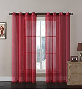 2 Pack Extra Long Semi Voile Sheer Grommet Curtain Panels Assorted Colors Red