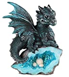 Blue Medieval Baby Dragon with Crystal Egg Nest Decorative Figurine