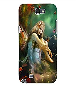ColourCraft Butterfly Girl Design Back Case Cover for SAMSUNG GALAXY NOTE 2 N7100