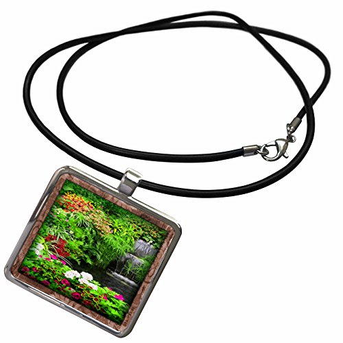 3dRose Susan Brown Designs Nature Themes - Flowers and Waterfall - Necklace With Rectangle Pendant (ncl_41283_1)