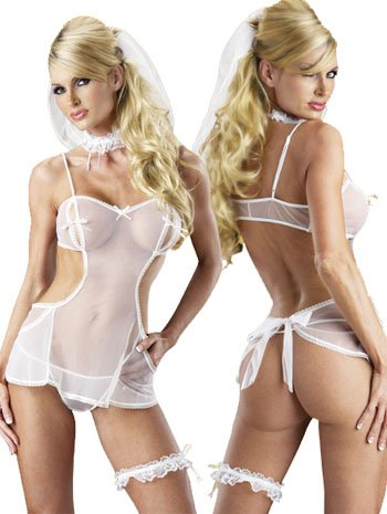 Cheap Plus Size Bridal Costume Lingerie Set - QUEEN SIZE