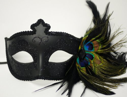 Black Venetian Mask Sparkles Peacock Feathers on Side