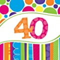 Creative Converting 18 Count Bright and Bold 40th Birthday Lunch Napkins