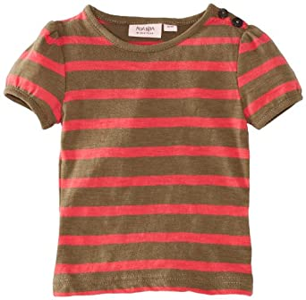 Noa Noa Baby Girls Basic Sailor Striped-01 T-Shirt, Green (Dark Vetiver), 1-2 Years (Manufacturer Size:9 Months)