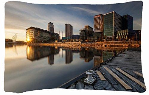 Microfiber Peach Queen Size Decorative Pillowcase -City City Berth Sunset front-1061761