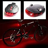 #1: ElectomaniaTM 5 LED Tail Light with Twin Laser Road Safety Lights for Bikes
