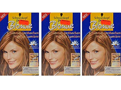 3x Schwarzkopf POLY Blonde M10.7 [ Kupfer Blond ] Schimmer Strähnchen
