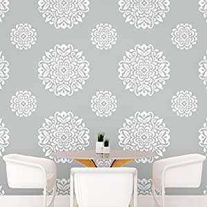 DeStudio Floral Circle Tile Chalkboard Wall Decal, Size SMALL & Color : WHITE