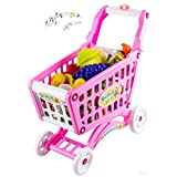 WolVol (PINK) Musical Shopping Cart Pretend Play Toy With Food Fruits Vegetables, Lights And 12 Melo