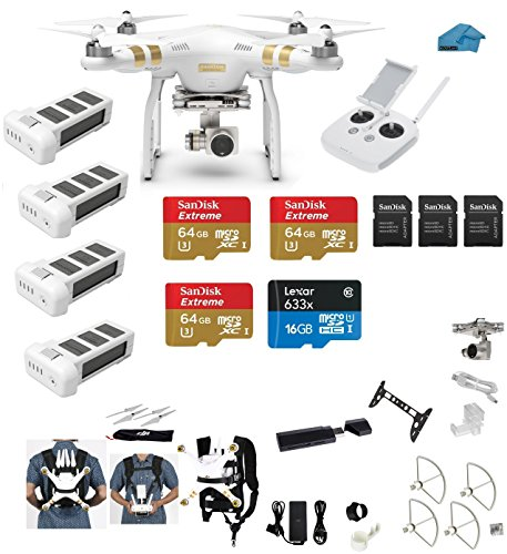 DJI-Phantom-3-Professional-Pro-4K-Video-Camera-EVERYTHING-YOU-NEED-Kit-3-DJI-Extra-Batteries-Prop-Guards-3-SanDisk-64GB-UHS-IU3-Micro-SDXC-SD-Cards-w-Reader-Koozam-Cleaning-Cloth