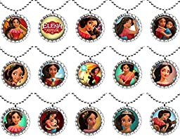 15 ELENA OF AVALOR Flat Bottle Cap Necklaces for Birthday, Party Favors, Bag Fillers