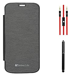 SumacLife PU Leather Flip Cover Case for Micromax Canvas Gold A300 (Black) + AUX Cable + Stylus