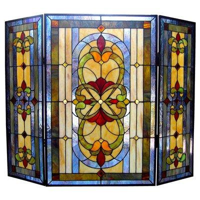 Tiffany Stained Glass Fireplace Screen Dark Bronze Finish 3 Panels Home Decor Ebay
