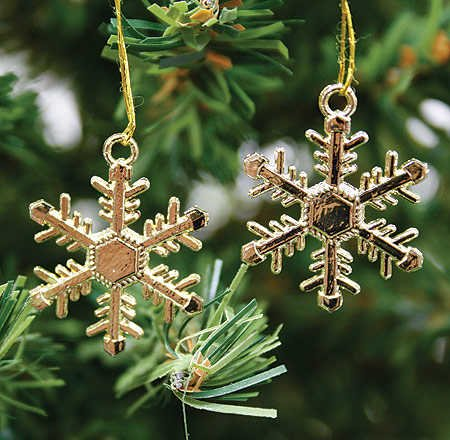 48 - 1&quot; Gold Snowflake Winter Wedding Favors or Ornaments