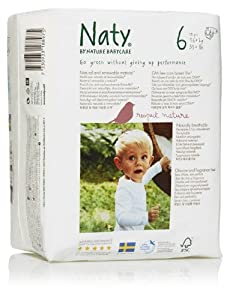 Naty by Nature Babycare Size 6 Nappies (35+ lbs/16+ Kg) Nappies  Pack of 18