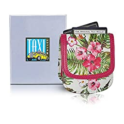 Taxi Wallet Women\'s PINK HIBISCUS VEGAN Small Compact Card Coin Wallet