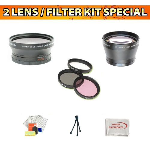 Wide Angle Macro Lens + 2x Telephoto Lens + 3 Pc. Filter Kit for the Sony Hdr-xr500, HDR-CX500, Hdr-xr550v, Hdr-cx550 Hd Handycam Camcorders kit Includes Lens Cleaning Kit and Lcd Screen Protectors ++More !!