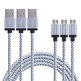 [TRES CABLES] SENDIS 3M Cable Micro USB de Nylon para Samsung, HTC, Motorola, LG, Huawei, Tabletas, Cámaras y Otros Dispositivos Android - Best Reviews Guide