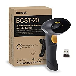 Inateck 2.4GHZ Handheld Wireless USB Automatic Laser Barcode Scanner (2.4GHZ Wireless & USB2.0 Wired) USB Rechargeable Barcode Bar-code Handscanner Storage of up to 2600 Code Entries, With Mini USB Receiver and USB Cable, Plug and Play - USB Charging