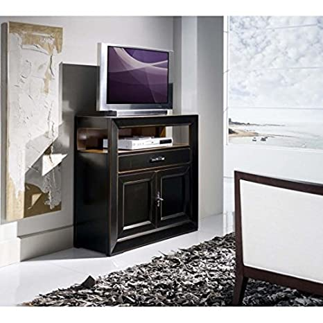 Mueble para TV 2 puertas, 1 cajón madera, color blanco envejecido-como fotos, color blanco y beige