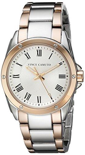 Vince Camuto para mujer reloj infantil de cuarzo con esfera analógica blanca y plateado correa de acero inoxidable de VC-5231SVRT
