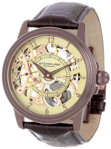 Stuhrling Original Men's 228.3365K77 Boardroom Brumalia Mechanical Skeleton Brown Watch