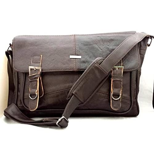 Men's Soft Leather Satchel   Shoulder Messenger Bag with Adjustable Shoulder Strap in Brown