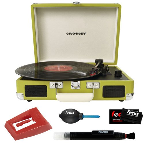 Crosley Cr8005A-Gr Cruiser Portable Turntable (Green) + Crosley Np1 Replacement Needle + Cleaning Pen + Dust Blower + Cleaning Cloth