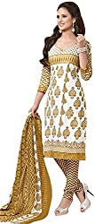 Tripssy Women's Cotton Printed Unstitched Salwar Suit (fb_dm_29, White And Purple)