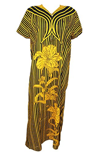11c568a2d4 Creativegifts Women Cotton Yellow-Black Nightwear Sleepwear Long Nighty  Size M Price in India