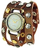 Geneva Designer Inspired Leather Wrap Watch Bronze