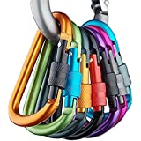 Aluminum D-ring Locking Carabiner Keychain Spring Clip Lock Carabiner Hook Outdoor Camping Equipment(10 Pcs)